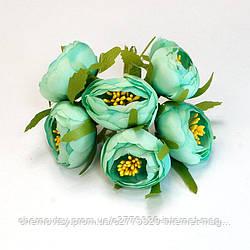 Квіти з тканини двоколірний з тичинками, уп. 60 шт. Бірюзові