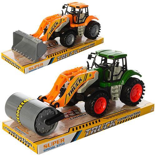 Трактор 629-2-3  инер-й, 25см, подвиж.детали, 2вида(бульдозер,каток),в слюде, 30-12-11,5см
