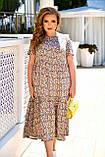 Легке літнє жіноче батальне сукня з принтом (р. 52-66), фото 5