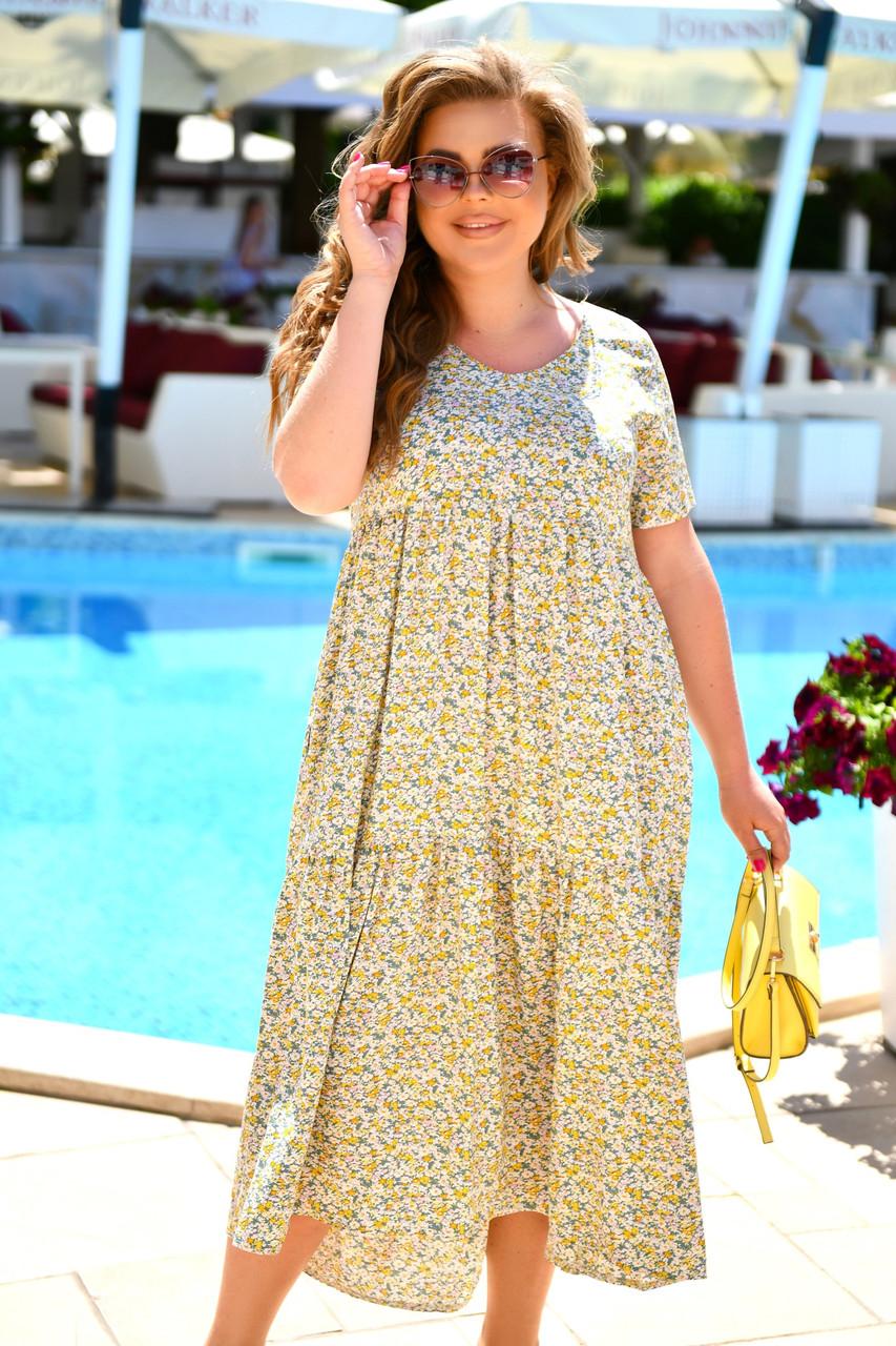 Легке літнє жіноче батальне сукня з принтом (р. 52-66)