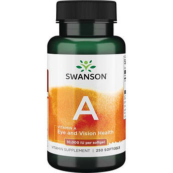 Витамин А Swanson Vitamin A 10000 IU 250 капсул