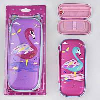 Пенал Фламинго для девочки, жесткий, объемная картинка