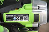 Комплект безщіткових інструментів Greenworks 24 V дриль-шуруповерт і ударний гвинтоверт з АКБ 2х2 Ач і ЗУ, фото 5
