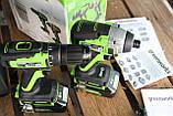 Комплект безщіткових інструментів Greenworks 24 V дриль-шуруповерт і ударний гвинтоверт з АКБ 2х2 Ач і ЗУ, фото 3