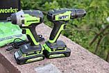 Комплект безщіткових інструментів Greenworks 24 V дриль-шуруповерт і ударний гвинтоверт з АКБ 2х2 Ач і ЗУ, фото 7