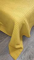Вафельный плед-пике Комильфо хлопок 200х220 горчичный K551