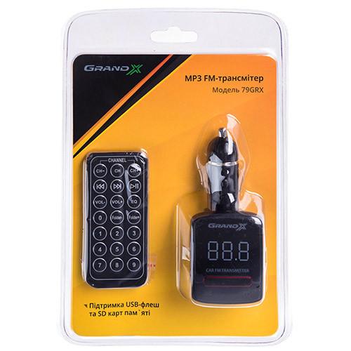 FM-трансмиттер Grand-X CUFM79GRX, AUX, USB 0.5A, SD card, 3.5mm mini-jack (CUFM79GRX)