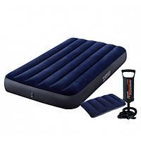 Матрац надувний одномісний Intex 99х191х25 см + ручний насос + подушка