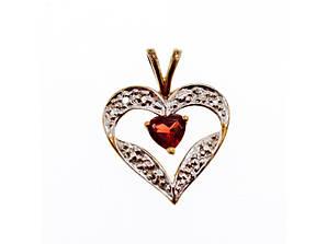 Золотой Кулон с Гранатом *Гранатовое Сердце*