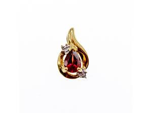 Золотой кулон с гранатом и бриллиантами