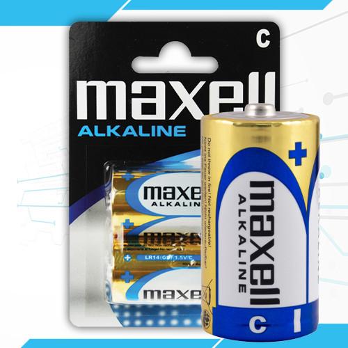 Батарейки LR14 / С алкалиновые Maxell, щелочные батарейки бочка средняя тип С LR14 - 2 шт
