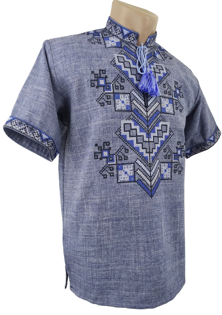Сорочка Вишиванка для хлопчика лляна короткий рукав р. 140 -176