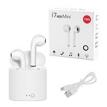 Бездротові Bluetooth-навушники i7 mini TWS Stereo з боксом для зарядки. Колір: білий
