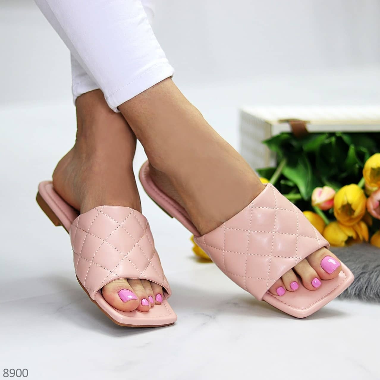 Шльопанці жіночі рожеві - пудра з квадратним носком еко - шкіра