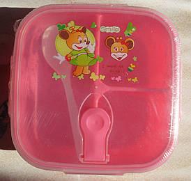Ланч-бокс дитячий пластиковий на 3 відділення з ложечкою, рожевий