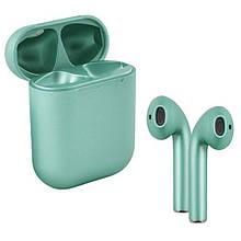 Бездротові навушники блютуз гарнітура inPods 12 eleven TWS bluetooth V5.0 сенсорні. Колір: metallic asparagus