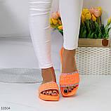 Женские шлепанцы яркие оранжевые со стразами дайвинг, фото 5