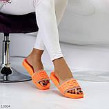 Женские шлепанцы яркие оранжевые со стразами дайвинг, фото 9