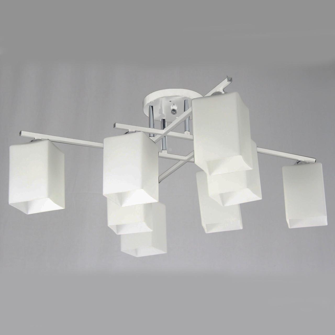 Люстра стельова на вісім ламп 29-C466/8 CR+WT+WT