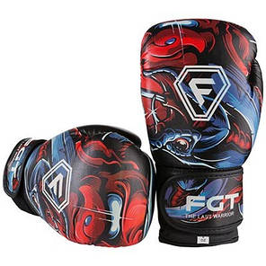 Боксерские перчатки FGT, Flex, 6oz, рисунок, red style, фото 2