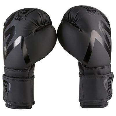 Боксерские перчатки черные с печать на манжете FGT collection 3035, Flex, 10oz