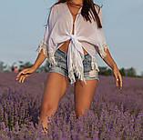 Женская красивая пляжная туника- парео шифоновая норма и батал черная белая, фото 2