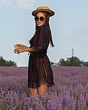 Женская красивая пляжная туника- парео шифоновая норма и батал черная белая, фото 4