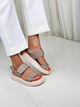 Женские сандалии босоножки на низком ходу беж кожа