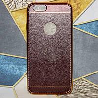 """Чехол для Apple iPhone 6/6S силиконовый """"под кожу"""" Brown, фото 1"""