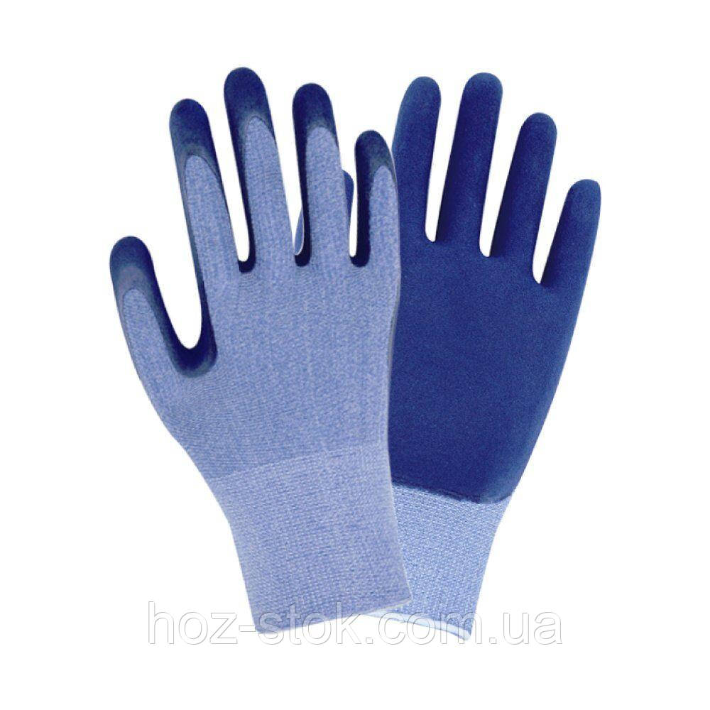 Рукавички трикотажні з частковим латексним покриттям крінкл р10, синій манжет (9445501)
