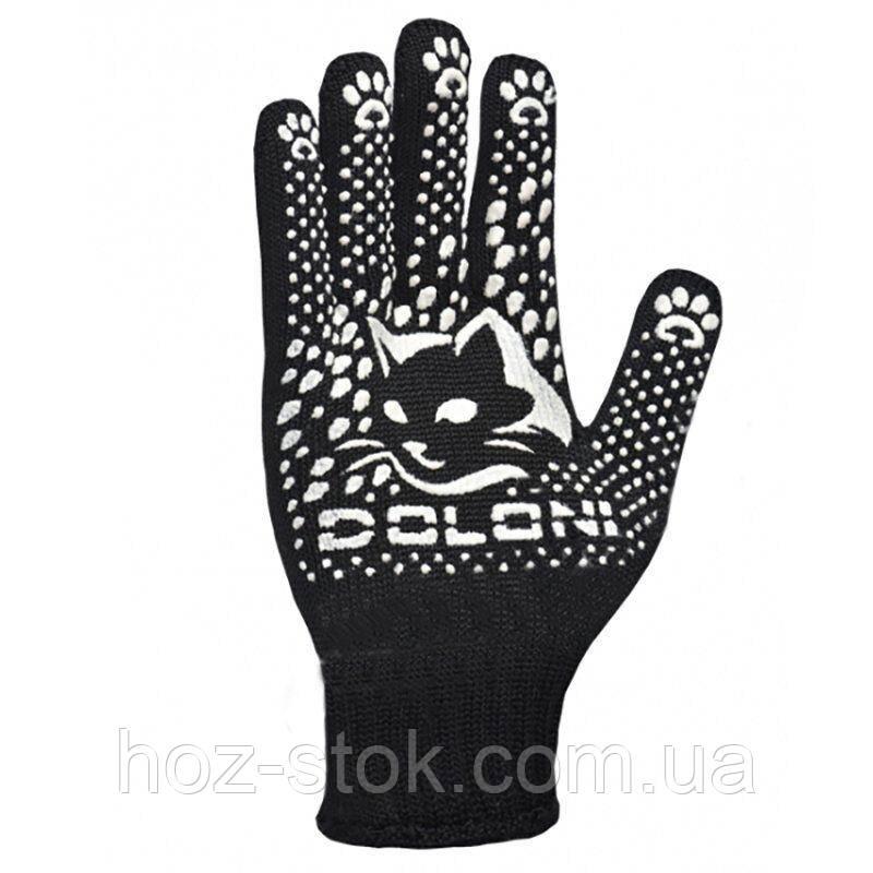 Рукавички Doloni з ПВХ-крапкою КотоФан, чорно-білі, клас 10, розмір 8 (4499/672)