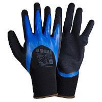 Рукавички трикотажні з подвійним нітриловим покриттям р10 (синьо-чорний манжет)