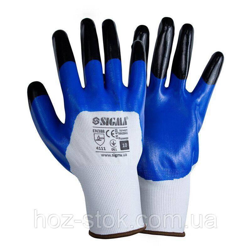 Рукавички трикотажні з частковим нітриловим покриттям, посилені пальці р10 (синьо-чорний манжет)