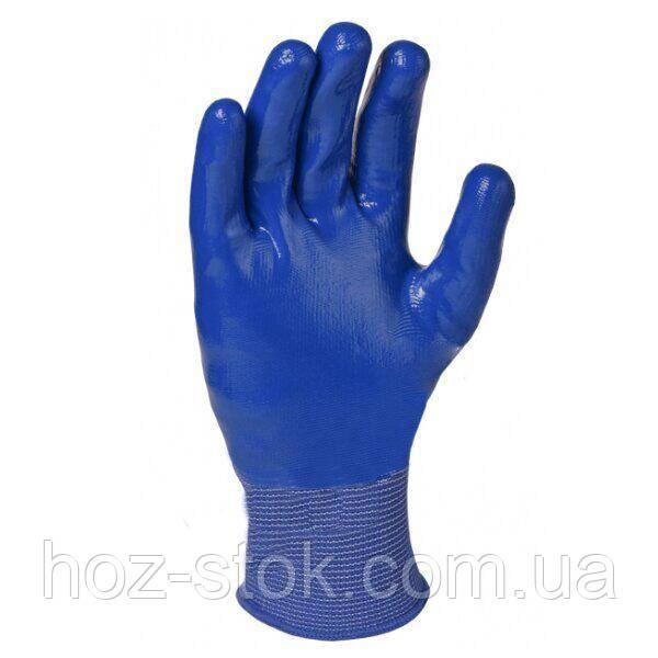 Рукавички Doloni трикотажні з нітриловим покриттям, повний обливши, сині, розмір 10