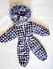 Детский зимний комбинезон человечек для девочек 1-2 года, цельный, синий с микки-маусами