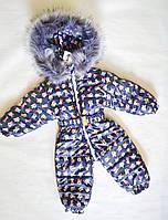 Детский зимний комбинезон человечек для девочек 1-2 года, цельный, синий с микки-маусами, фото 1