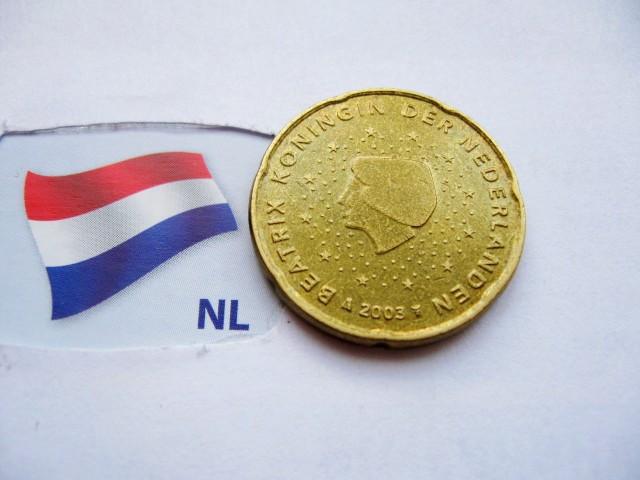 Монета 20 нидерландских евроцентов 2003 год