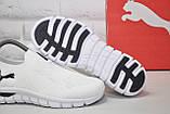 Белые кроссовки сетка без шнурков в стиле Puma, фото 5