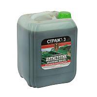 Антисептик-Антижук для дерев'яних конструкцій Страж-3 (готовий розчин) зелений, пляшка 10 л