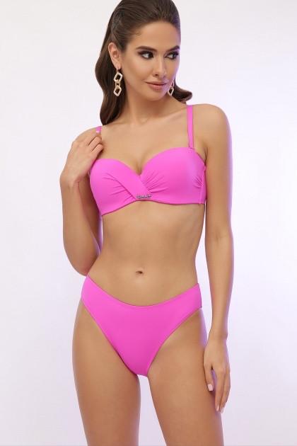 Розовый женский купальник раздельный с поролоном на косточках и плавками слим 21487 (R), размеры от 46 до 56