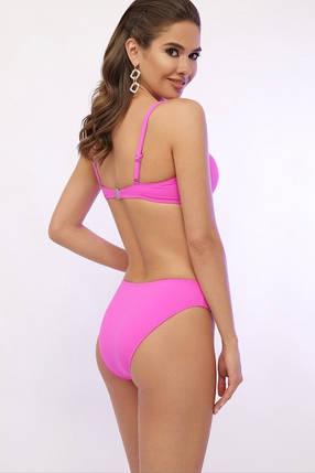 Розовый женский купальник раздельный с поролоном на косточках и плавками слим 21487 (R), размеры от 46 до 56, фото 2