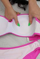 Розовый женский купальник раздельный с поролоном на косточках и плавками слим 21487 (R), размеры от 46 до 56, фото 3