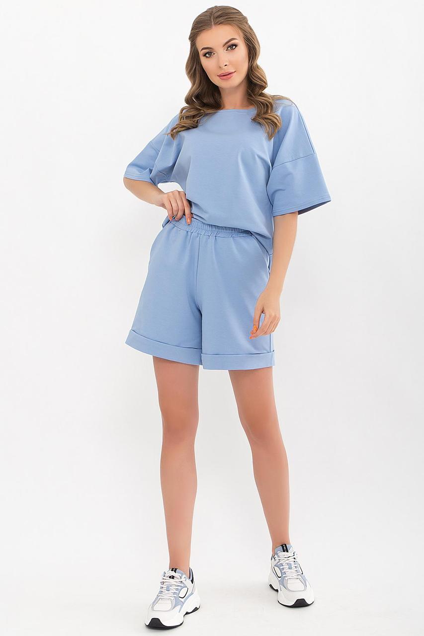Костюм жіночий річний трикотажний з шортами блакитний Амонд