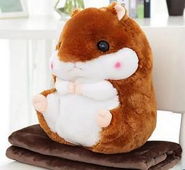 Плед Хом'як 3 в 1 іграшка подушка плед коричневий | Хом'ячок 3 в 1 іграшка плед, подушка м'яка