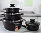 Набір посуду Edenberg EB-9180 8 предметів Чорний каструлі ківш мармурове покриття, фото 2