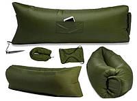 Надувной гамак лежак Prolisok 240x75 см хаки