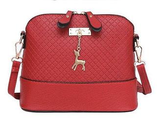 Женская сумочка Бэмби через плечо Красная | Маленькая мини сумка с брелком олень
