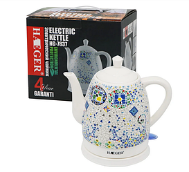 Чайник електричний керамічний Haeger HG-7837 1.5 л 1350 Вт | Електрочайник з малюнком