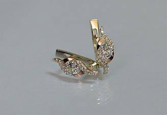 Серебряные серьги Sil с золотыми накладками 128s-13 Белый Sil-1041 ES, КОД: 976430