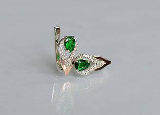 Серебряные серьги Sil с золотыми накладками 132s Зеленый Sil-727 ES, КОД: 976458